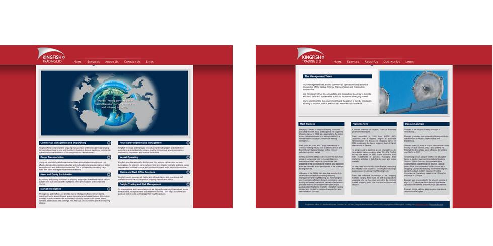 trading company website screens