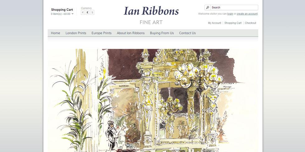 E-commerce site for London Artist Ian Ribbons